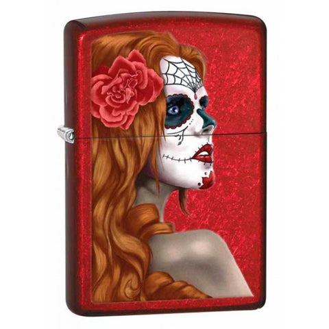 Zippo Day of the Dead Girl Candy Apple Red Lighter #28830