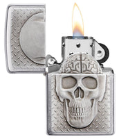 Zippo Skull With Brain Surprise, Brain Shows When Lid Is Open #29818