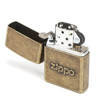 Zippo Stamped Logo Classic Antique Lighter, Brass Finish #28994