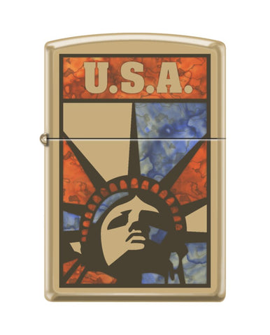 Zippo Fuzion Liberty USA Flag, High Polish Brass, Windproof Lighter #254B-082788