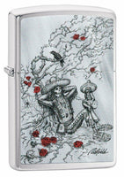Zippo Rick Rietveld Skeleton Rose Bush, Brushed Chrome Pocket Lighter NEW #49144