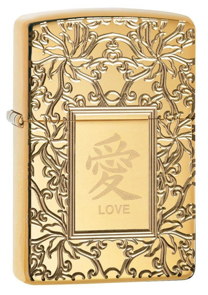 Zippo Chinese Love, High Polish Brass, Deep Engraved Armor Lighter #49022