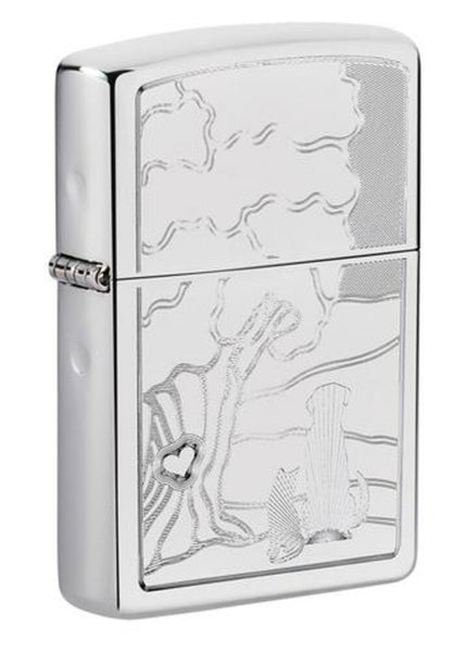 Zippo Family Pets and Tree Engraved Design, High Polish Chrome Lighter #49258