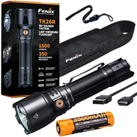 Fenix TK26R Tactical Flashlight, 1500 Lumens + Battery, Holster, Lanyard #TK26R