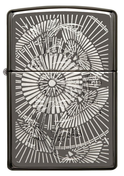 Zippo Umbrellas Lighter, Black Ice Chrome #29421
