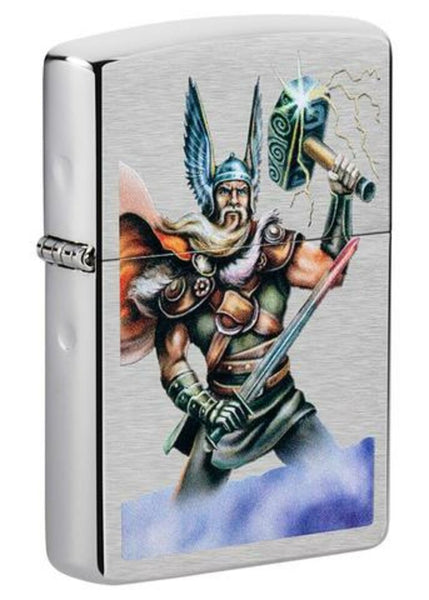 Zippo Thor Design Norse Mythology Brushed Chrome Finish Windproof Lighter #49250