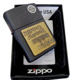 Zippo Brass Emblem Lighter, Black Crackle #362