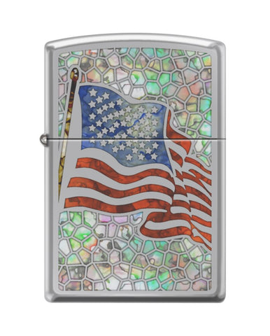 Zippo Fuzion USA Flag, High Polish Chrome Finish, Windproof Lighter #250-082786