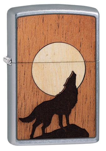 Zippo WOODCHUCK Howling Wolf, Real Wood, Street Chrome Finish Lighter #49043