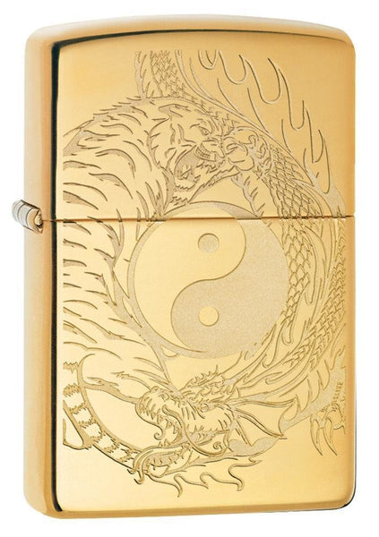 Zippo Tiger & Dragon, Yin & Yang, Engraved, Genuine Windproof Lighter #49024