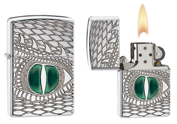 Zippo Dragon Eye Lighter, Armor, High Polish Chrome, Windproof #28807
