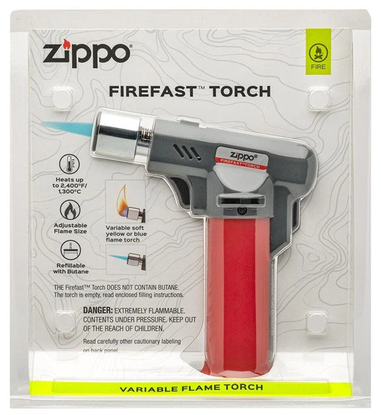 Zippo FireFast Torch Adjustable Flame Butane Refillable, Red, Clampack #40558