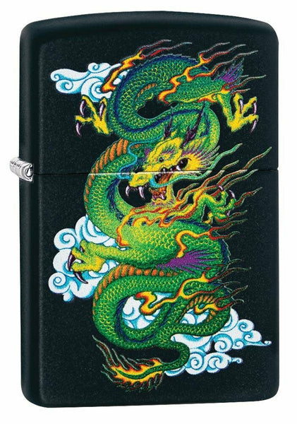 Zippo Ancient Asian Dragon, Genuine Black Matte Lighter #29839