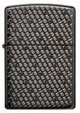 Zippo Hexagon, Deep Carved Engraved, Black Ice Finish Armor Lighter #49021