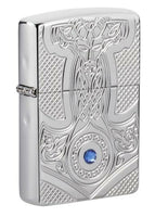 Zippo Thor Hammer Medieval, Deep Carved High Polish Chrome Armor Lighter #49289