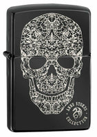 Zippo Anne Stokes 3D Skull, Genuine High Polish Black Pocket Lighter USA #49143