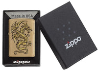 Zippo Dragon Design Lighter, Brushed Brass #29725