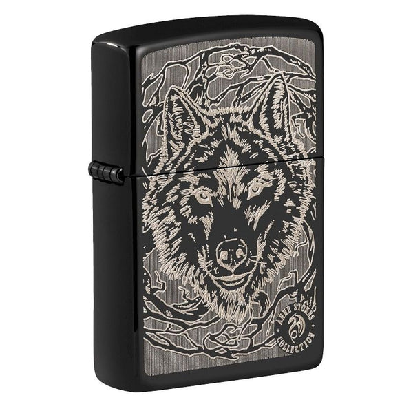 Zippo Anne Stokes Wolf Design, High Polish Black, Windproof Lighter #49443