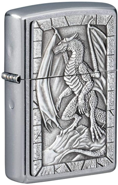 Zippo Dragon 3D Emblem Design, Street Chrome Finish, Windproof Lighter #49296