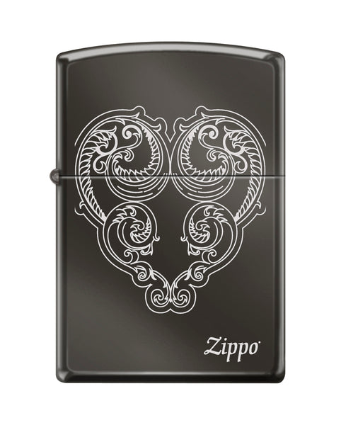 Zippo Victorian Heart, Black Ice Finish, Windproof Lighter #150-082817