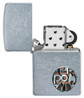 Zippo Button Logo Street Chrome Finish Genuine Windproof Lighter USA Made #29872