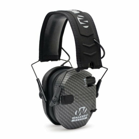 Walker's Razor Slim Electronic Earmuff + Batteries, NRR 23, Carbon #RSEM-CARB