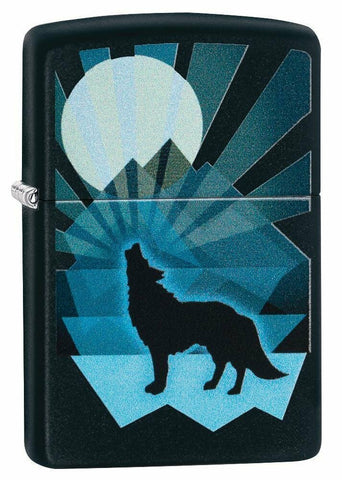 Zippo Wolf and Moon, Black Matte Finish, Windproof Lighter Made in USA #29864