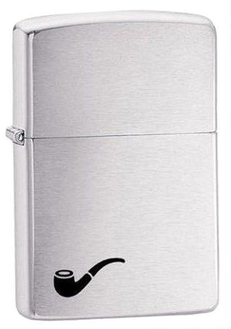 Zippo Pipe Lighter + Pipe Insert, Brushed Chrome Finish Genuine Windproof #200PL