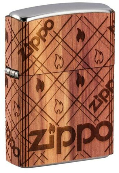 Zippo WOODCHUCK USA Cedar Wrap, 100% Real Wood, Street Chrome Lighter #49331