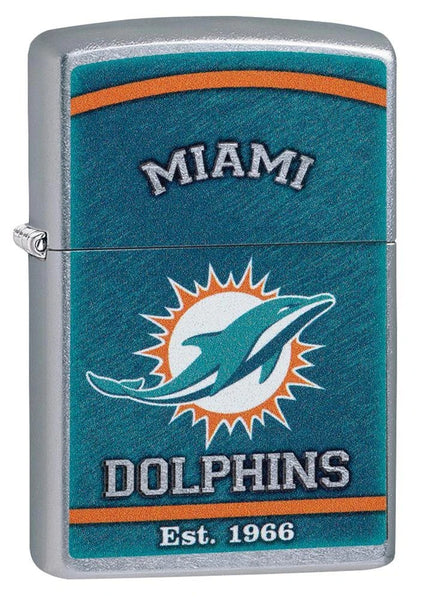 Zippo NFL Miami Dolphins Vibrant Logo, Street Chrome Windproof Lighter #29950