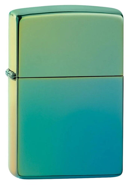 Zippo Hi Polish Teal Yellow/Lime Mirror Finish Genuine Windproof Lighter #49191