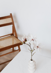 White table and wood chair
