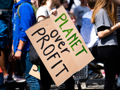 protest banner in favor of climate change