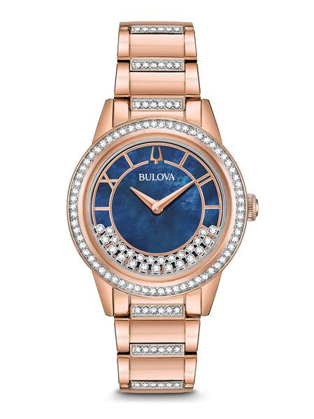 Bulova 98L247 Turnstyle Ladies Blue Dial Rose Gold Tone Watch