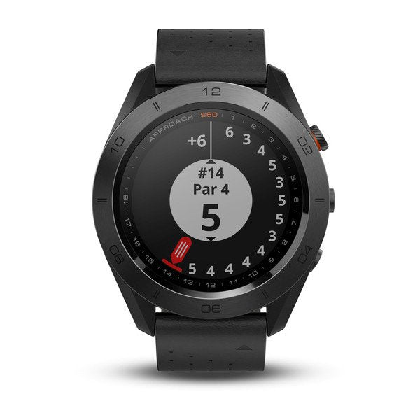 Garmin 010-01702-03 Approach S60 Black Ceramic Bezel with Black Leather Band Watch