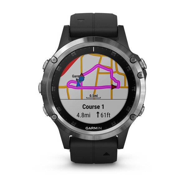 Garmin 010-01988-10 Fenix 5 Plus Silver with Black Band Watch