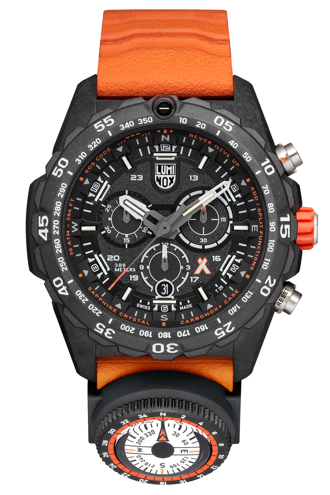 PREORDER Luminox 3749 Bear Grylls MASTER Series Orange Rubber Strap Chronograph Watch