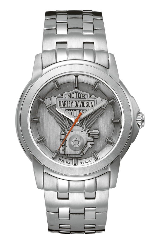 Harley Davidson by Bulova 76A021 Signature Collection Stainless Steel Pewter Dial Watch
