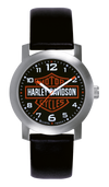 Harley Davidson by Bulova 76A04 Stainless Case Leather Strap Watch