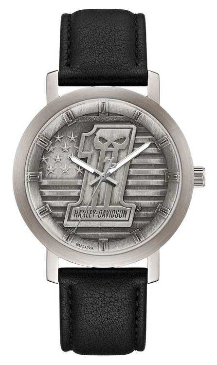Harley Davidson by Bulova 76A163 3-Hand Silver-Tone Stainless Steel 40mm Watch