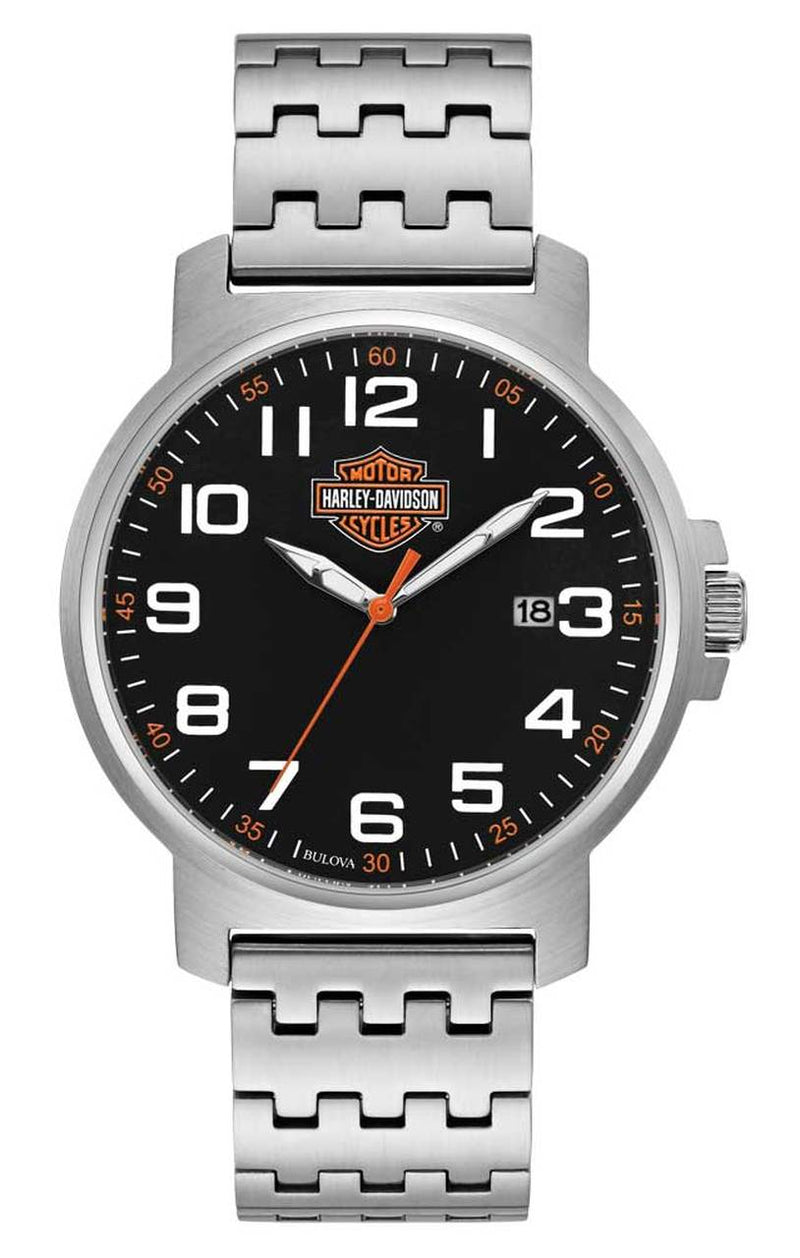 Harley Davidson by Bulova 76B187 3-Hand Silver Tone Stainless Steel 42mm Watch