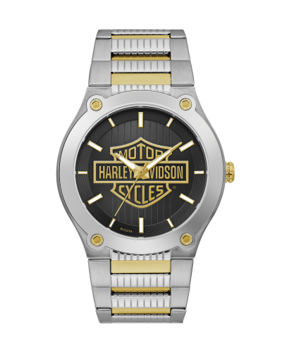 Harley Davidson by Bulova 78A126 3-Hand Two-Tone Stainless Steel 43mm Watch