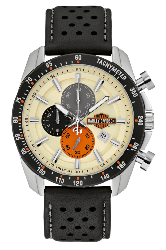 Harley Davidson by Bulova 78B154 Chronograph, Calendar Two-Tone Stainless Steel 46.5mm Watch