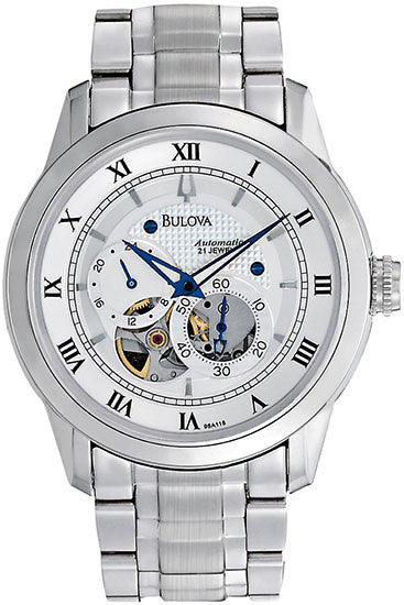 Bulova 96A118 Mens Watch Stainless Steel Automatic Silver Tone Skeleton Dial Link Bracelet