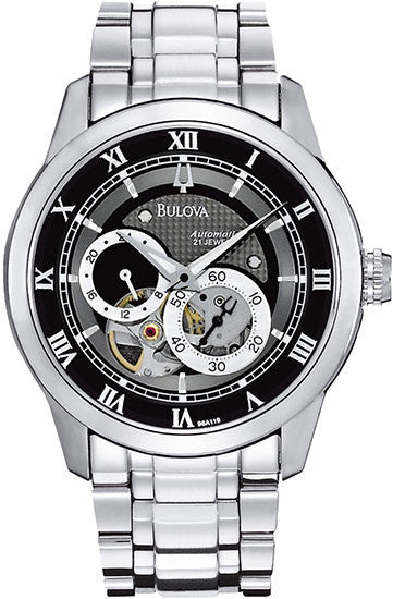 Bulova 96A119 Mens Watch Stainless Steel Automatic Black Skeleton Dial Link Bracelet