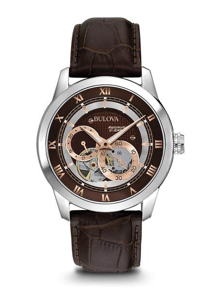 Bulova 96A120 Mens Watch Stainless Steel Automatic Rose Two Tone Brown Skeleton Dial