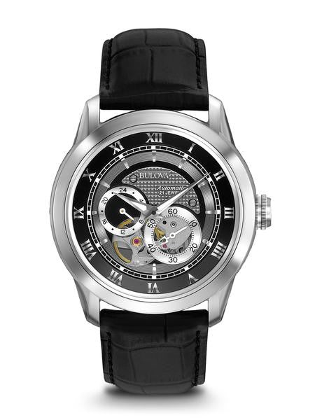 Bulova 96A135 Mens Watch Stainless Steel Skeleton Window Automatic Black Dial Black Leather Strap