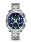 Bulova 96A185 Curv Mens Blue Dial Chronograph Stainless Steel Watch