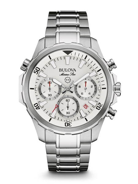 Bulova 96B255 Mens Marine Star White Dial Stainless Steel Watch