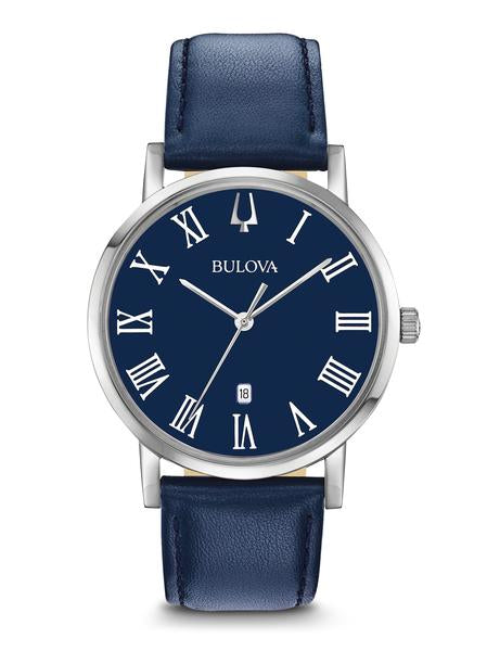 Bulova 96B295 Men's Blue Dial Blue Leather Strap Watch